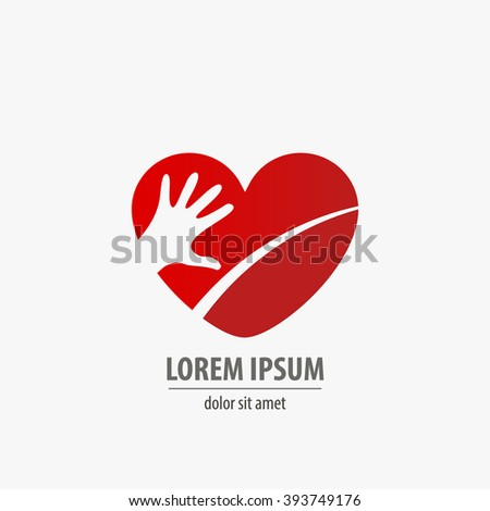 Healthcare heart icon with hand art - stock vector