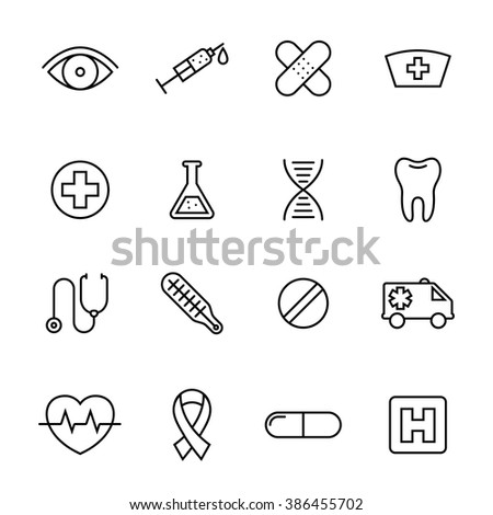 Healthcare medical line web icons, collection of ambulance and hospital symbols - vector design illustration - stock vector