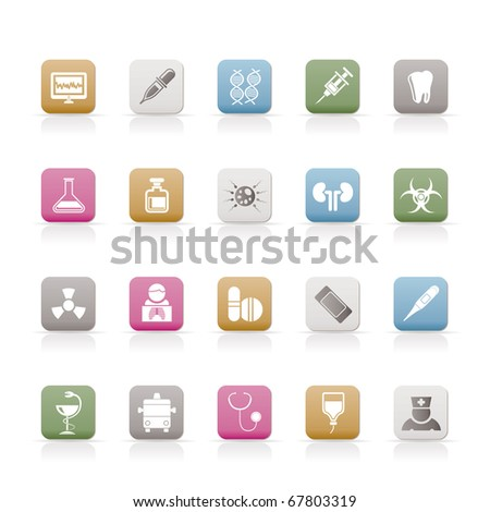 Healthcare, Medicine and hospital icons - vector icon set