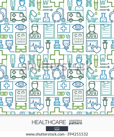 Healthcare wallpaper. Medical seamless pattern. Tiling textures with thin line integrated web icons set. Vector illustration. Abstract health care and medicine background for mobile app, website.