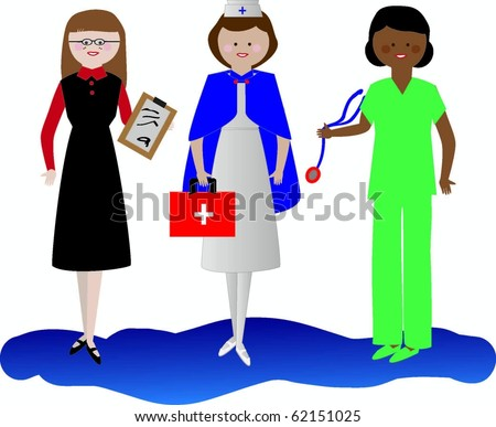 Healthcare Workers Cartoon Vectors including nurse and administrative personnel - stock vector