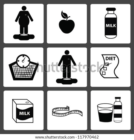Healthy and diet icon set,Vector - stock vector