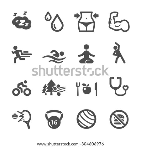 healthy and fitness icon set, vector eps10. - stock vector