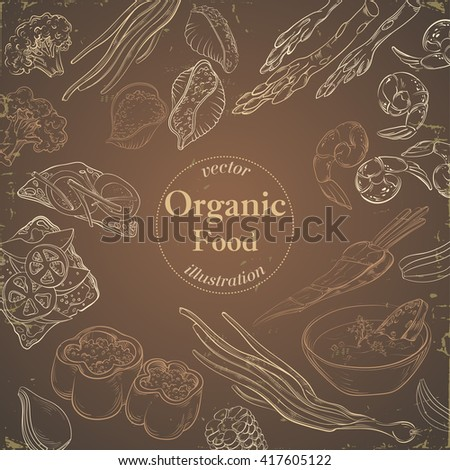 Healthy and Hearty Food. Organic restaurant background template in brown tones