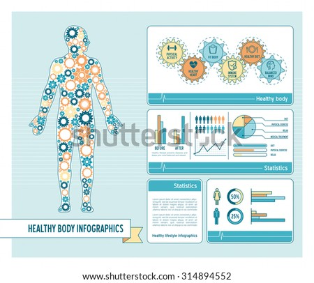 Healthy body and lifestyle concept infographics with human body composed of gears and charts - stock vector