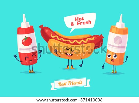 Healthy Breakfast. Funny characters ketchup mustard and hotdog. Funny food. Vector cartoon illustration. Cute stylish characters. Vector stock illustration. - stock vector