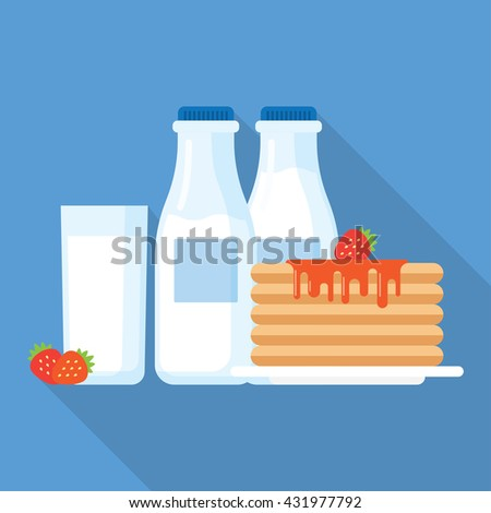 Healthy breakfast illustration, stack of pancakes with syrup, strawberries and glass of milk. Modern flat vector icon. - stock vector