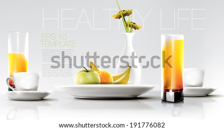 Healthy breakfast set. Healthy lifestyle concept. Editable vector graphic.  - stock vector