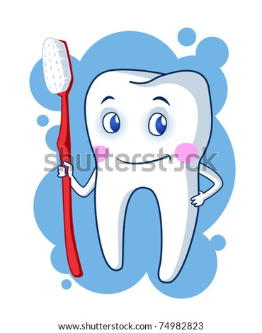 Healthy cartoon tooth character holding a toothbrush. Vector illustration.