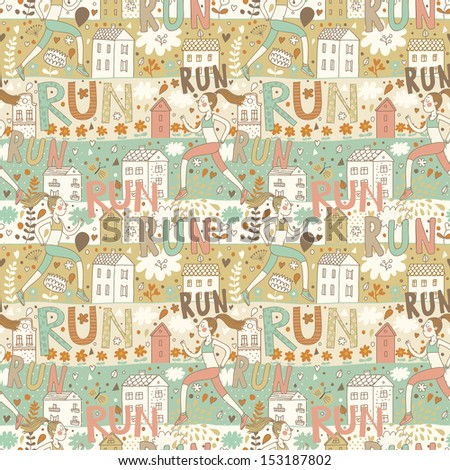 Healthy concept seamless pattern in vector. Girl running in the city. Seamless pattern can be used for wallpapers, pattern fills, web page backgrounds, surface textures. - stock vector