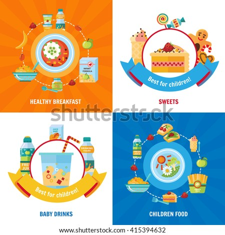 Healthy daily food choice for babies and children 4 flat icons square banner abstract isolated vector illustration - stock vector