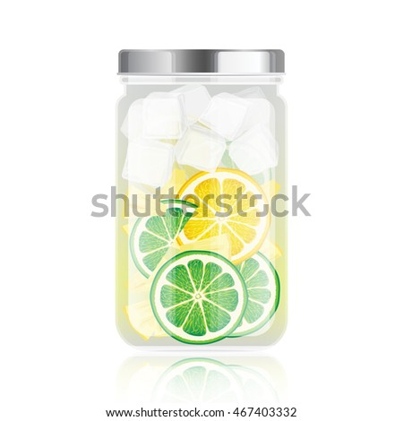 Healthy detox water in jar with lime, lemon and pineapple slices