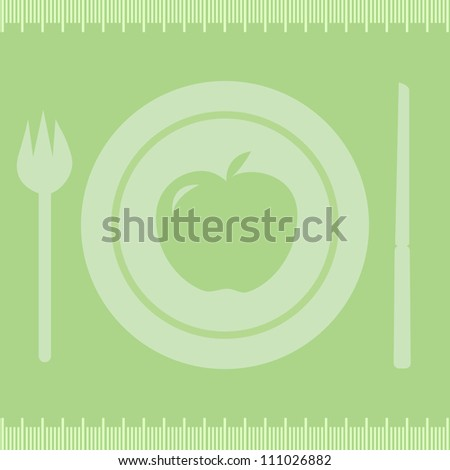 Healthy diet apple/Frame measuring tape boarder with apple on plate, fork and knife.