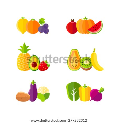 Healthy diet design elements with fruits and vegetables