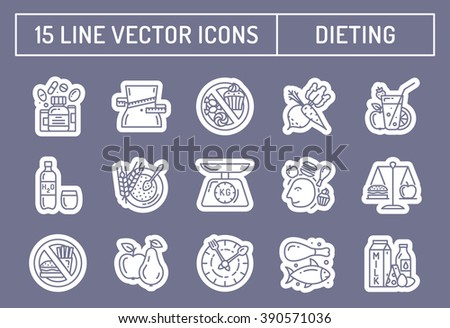 Healthy diet icons, healthy dieting icon, rational nutrition icons, slimming loss weight, healthy lifestyle, balanced diet eating, organic food, vegetarian food, protein diet, healthy diet concept - stock vector
