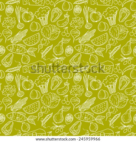 Healthy diet seamless pattern. Fruit and vegetable endless textured background. - stock vector