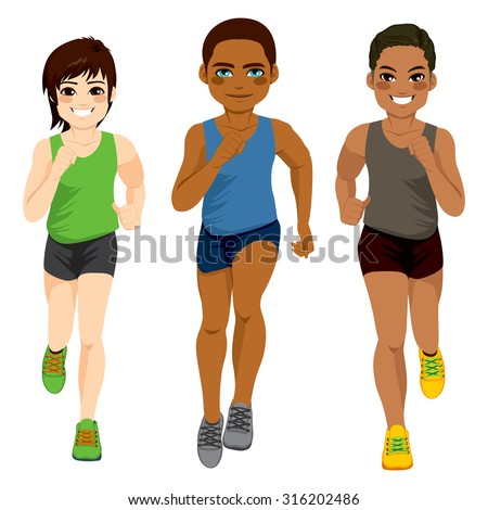 Healthy diverse young runner men of different ethnicity - stock vector