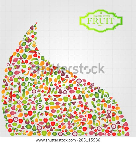 Healthy Eating and  Fruit, vector  illustration - stock vector
