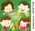 Healthy eating family - stock photo