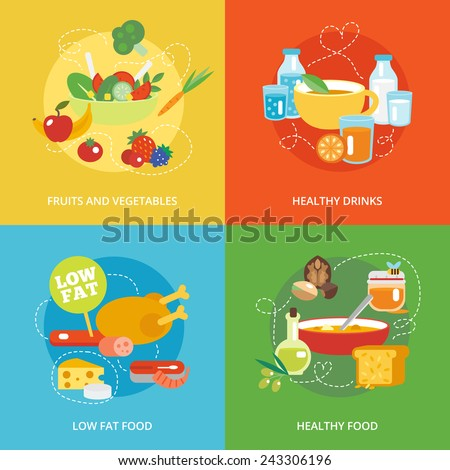 Healthy eating flat icons set with fruits and vegetables drinks low fat food isolated vector illustration - stock vector