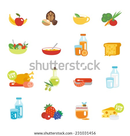 Healthy eating flat icons set with fruits nuts tea vegetables isolated vector illustration - stock vector