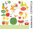 healthy eating, fruits, food illustrations collection - stock vector