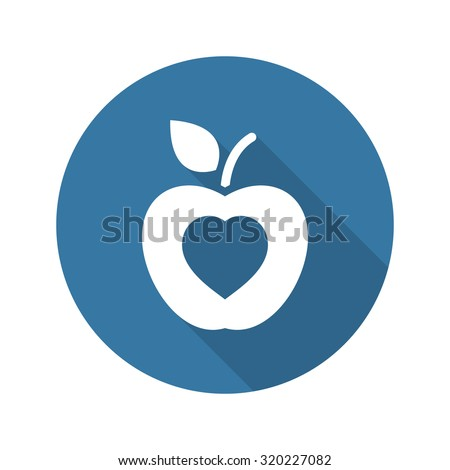 Healthy Eating Icon. Flat Design. Isolated Illustration. Long Shadow. - stock vector