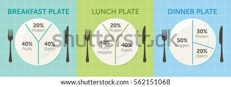 Healthy eating plate diagram. Breakfast lunch and dinner  sc 1 st  Shutterstock & Healthy Eating Plate Diagram Breakfast Lunch Stock Vector 562151068 ...
