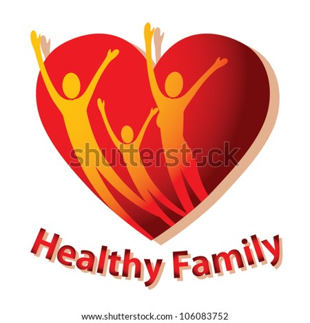 Healthy family icon vector - stock vector
