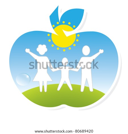 healthy family outdoors - stock vector