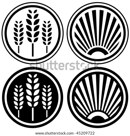 Healthy food and agriculture symbols, button elements, or design icons - stock vector