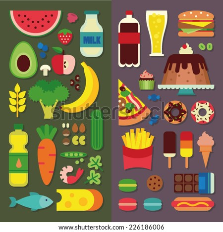 Healthy food and fast food - stock vector