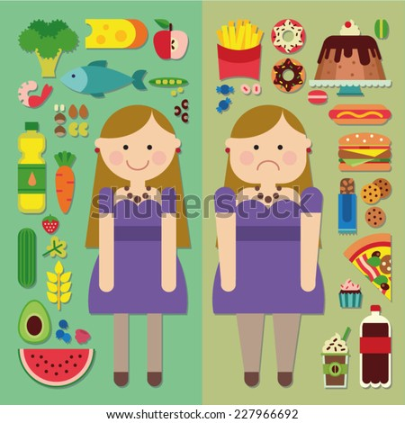 Healthy food and fast food - skinny and fat girls - diet - stock vector