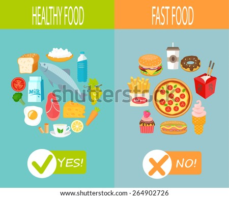 Healthy food and fast food, vector infographic. - stock vector