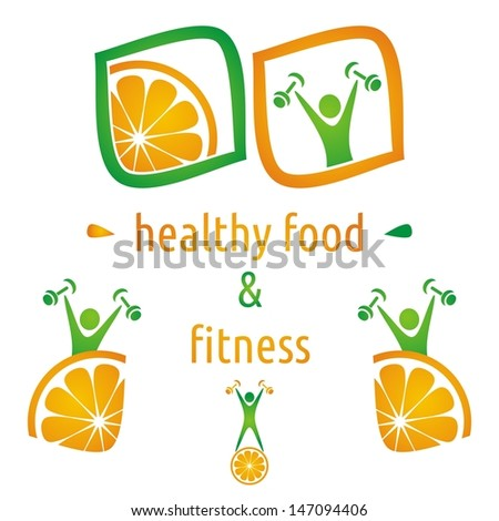 Healthy food and fitness symbols, orange and exercising figure - stock vector