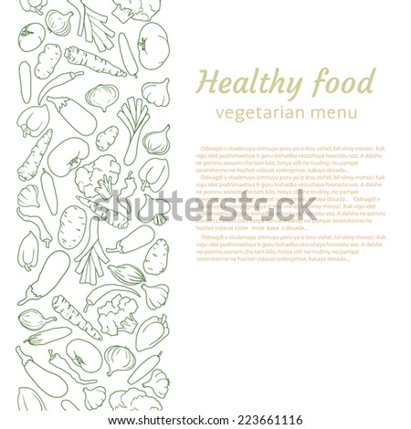 healthy food. background for vegetarian menu - stock vector