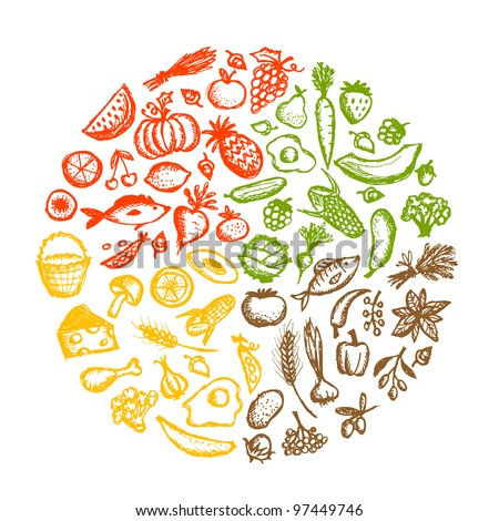 Healthy food background, sketch for your design - stock vector