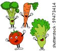 healthy food cartoon characters - stock vector