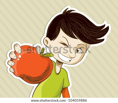 Healthy food, cartoon teenager boy with red apple. Vector file layered for easy manipulation and custom coloring. - stock vector