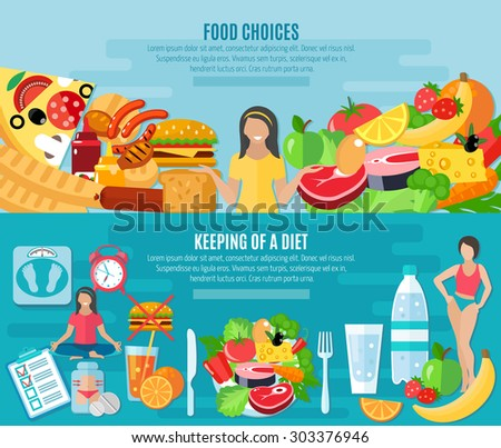 Healthy food choice for maintaining low fat diet 2 flat horizontal banners set abstract isolated vector illustration - stock vector
