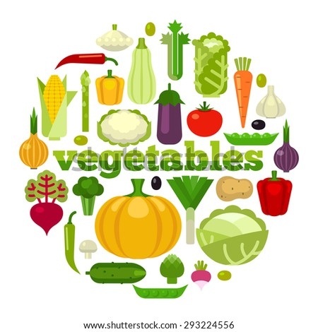 Healthy Food concept vector illustration.  Flat style vegetables  in the shape of circle on white background.