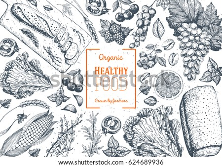Healthy food frame vector illustration. Vegetables, fruits, bread, berries hand drawn. Organic food set. Vegetarian food collection