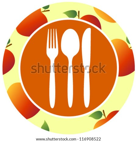 healthy food icon apple orange - stock vector
