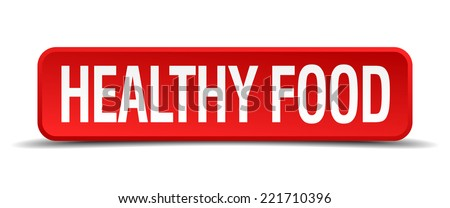 healthy food red 3d square button on white background - stock vector