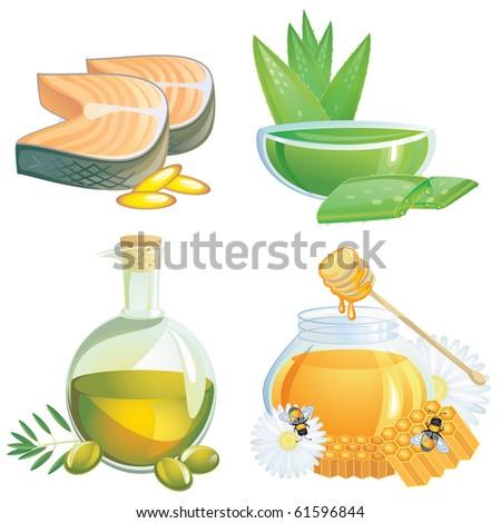 Healthy food supplements - stock vector