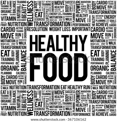 Healthy Food word cloud background, health concept - stock vector