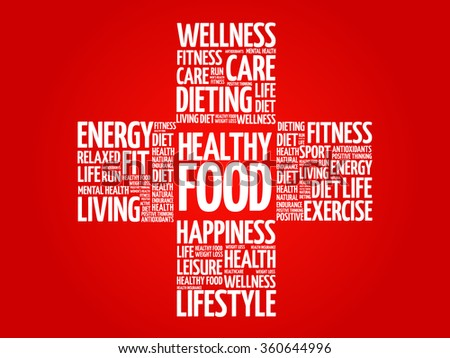 Healthy Food word cloud, health cross concept - stock vector