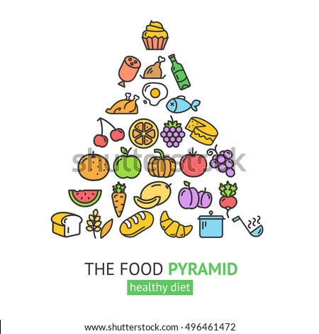 Healthy Foods Pyramid Different Groups Of Products Diet Health Care Vector Illustration