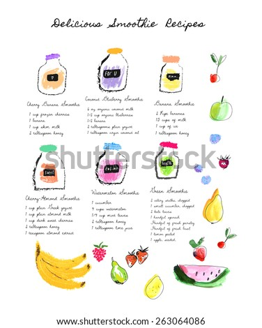 Healthy fresh smoothies recipes. Cute hand drawn illustration made with real oil pastel and watercolor. Isolated - stock vector
