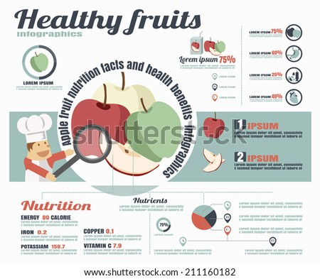 Healthy fruits infographics. Apple fruit vector illustration. - stock vector